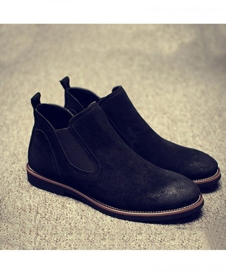 Black British Matte Leather Chelsea Boots