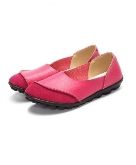 TIMETANG Pink Ballet Leather Slip Loafers