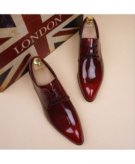 Red Leather Formal Lace Up Shoes