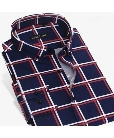 Navy Bold Check Plaid Button Down Shirt Slim Fit Shirt