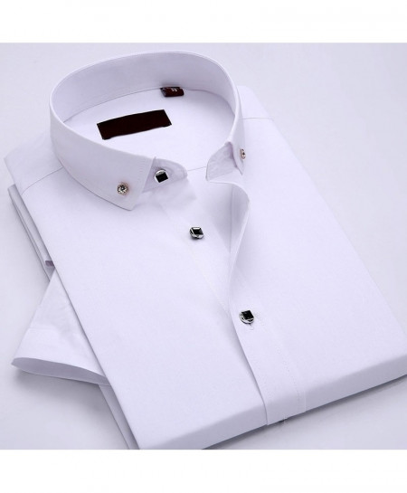 JeeToo White Short Sleeve Dress Slim Fit Cotton Casual Shirt