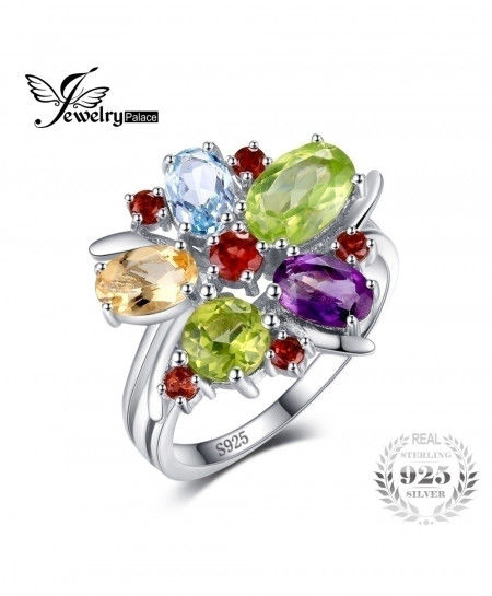 JewelryPalace Flower Amethyst Garnet 925 Sterling Silver Ring
