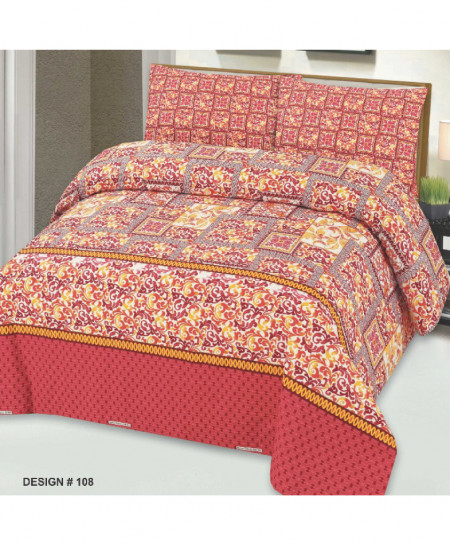 Pinkish Orange Floral Cotton Bedsheet PBS-108