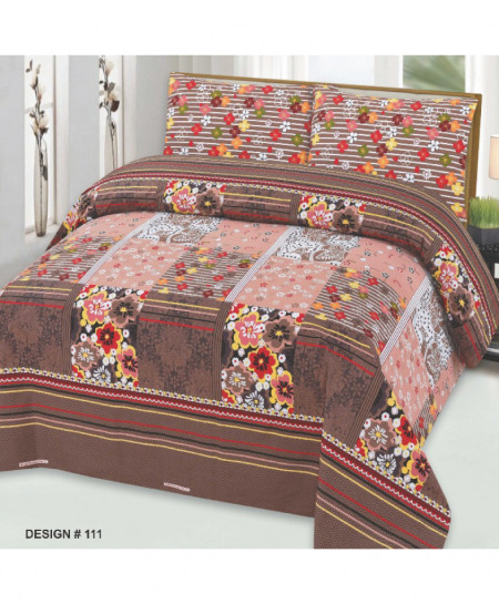 Brown Pink Floral Cotton Bedsheet PBS-111