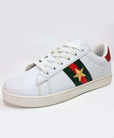 White With Red Green Star Casual Sneakers CB-2171