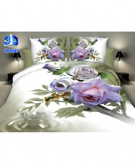 3D Creamy Pink Floral Stylish Cotton Bedsheet SD-0541