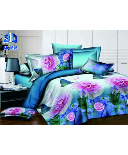 3D Aqua Blue Floral Stylish Cotton Bedsheet SD-0525