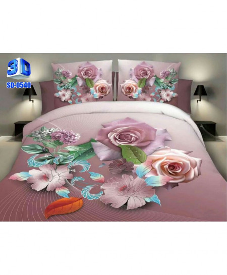 3D Powder Pink Floral Stylish Cotton Bedsheet SD-0540