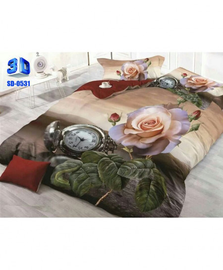 3D Dull Beige Floral Stylish Cotton Bedsheet SD-0531