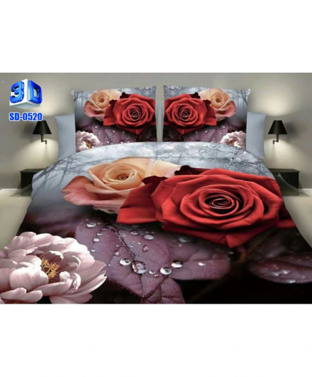 3D Maroon Grey Floral Stylish Cotton Bedsheet SD-0520