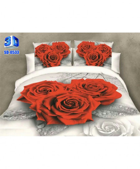 3D Ash Grey Floral Stylish Cotton Bedsheet SD-0533