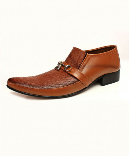Dull Mustard Textured Stylish Formal Shoes CB-2177