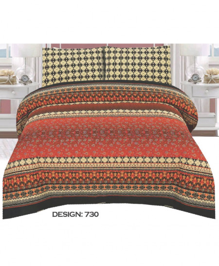 Orange MultiColor Pattern Cotton Bedsheet PBS-730