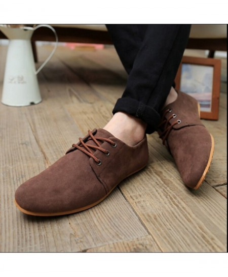 Brown Breathable Suede Lace-up Shoes