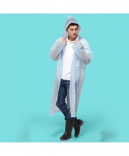 Yesello Blue Dotted Durable With Hat Hood Raincoat