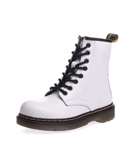 Martin White Leather Breathable Soft Boots