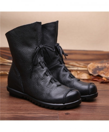 Black Leather Flat Soft Cowhide Front Zip Ankle Boots