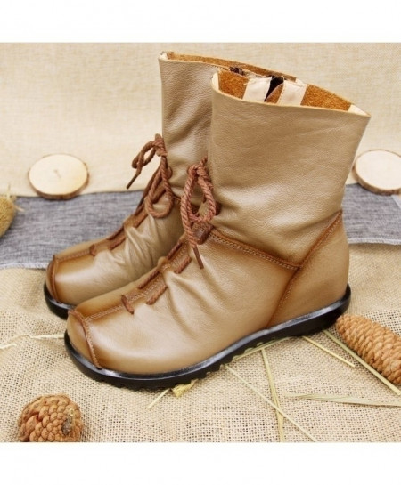 Camel Brown Leather Flat Soft Cowhide Front Zip Ankle Boots