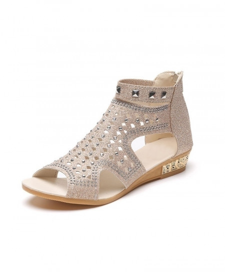 VTOTA Beige Rome Fashion Rivet Gladiator Sandals