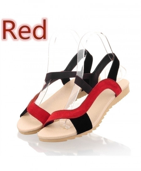 MORAZORA Red Cow Suede Leather Flat Sandals