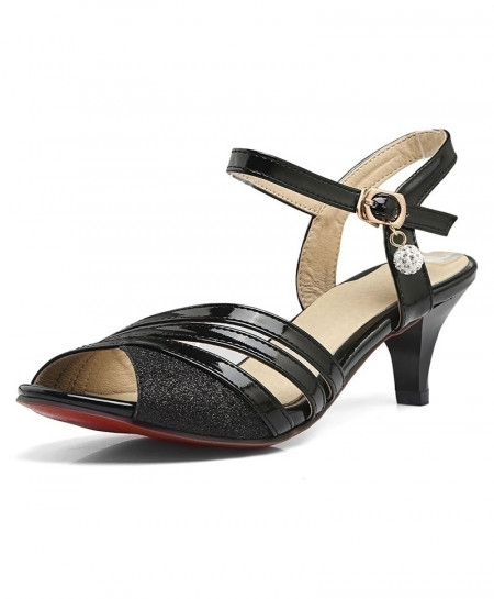 Lsewily Black Peep Toe Gladiator Thick High Heel Sandals