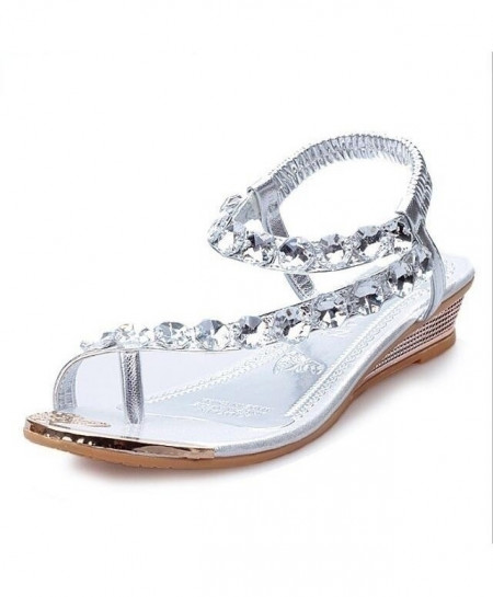 VTOTA Silver Rhinestone Wedges Slip On Sandals