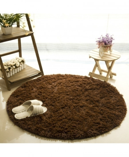Brown Fluffy Round Carpets Rug 100cm Diameter