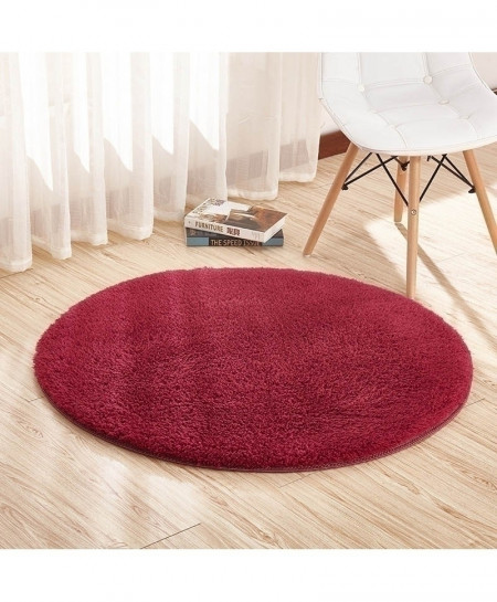 Red Wine Color Home Berber Fleece Round Carpets Rugs