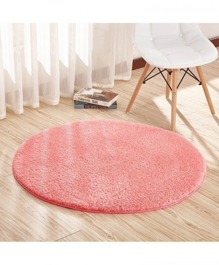 Pink Home Berber Fleece Round Carpets Rugs