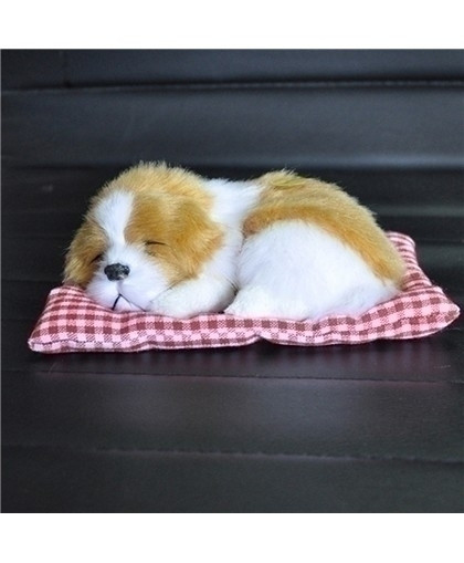 Brown White Simulation Animal Doll Plush Sleeping Dogs Stuffed Toy