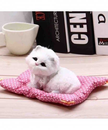 White Cat Simulation Doll Plush Stuffed Toy with Sound