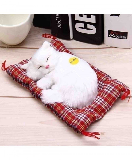 White Sleeping Cat Simulation Doll Plush Stuffed Toy with Sound