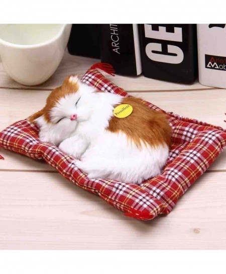 White Brown Sleeping Cat Simulation Doll Plush Stuffed Toy with Sound