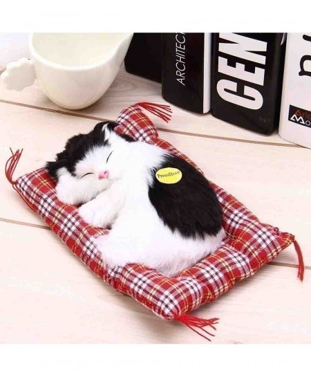 White Black Sleeping Cat Simulation Doll Plush Stuffed Toy with Sound