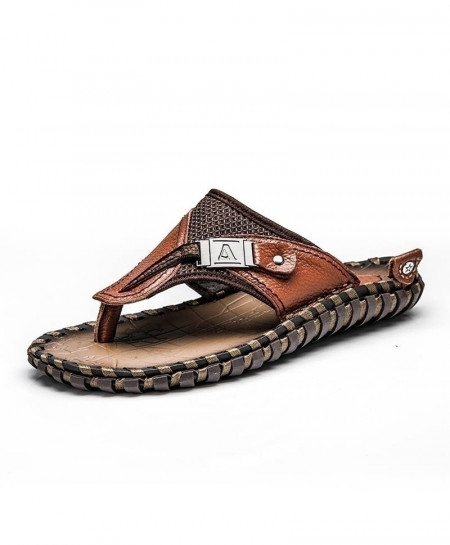 Merkmak Brown Flip Flops Leather Slippers