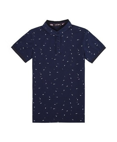 Navy Printed Stand Collar Polo Shirt