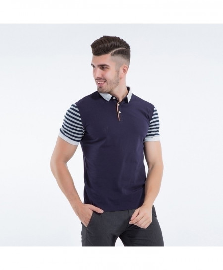 Liseaven Navy Breathable Cotton Polo Striped Short Sleeve Polo Shirt NA-005