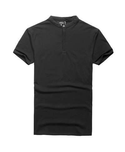 Black Casual Henry Collar Slim Fit Cotton T-Shirt NA-012