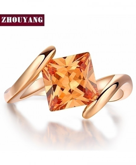 Square Orange Crystal Rose Gold Austrian Crystal Ring
