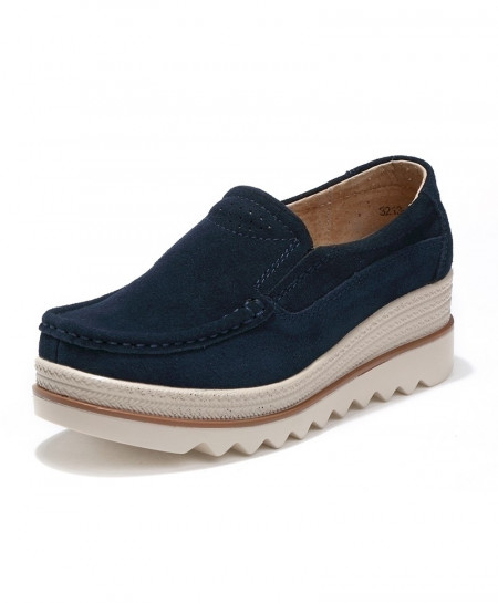 Navy Leather Suede Slip On Flats