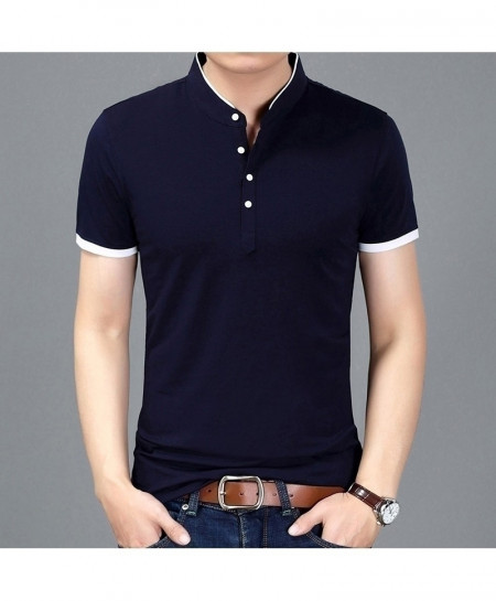 Navy Fit Short Sleeve Mandarin Collar T-Shirt