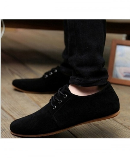 Black Breathable Suede Lace-up Shoes