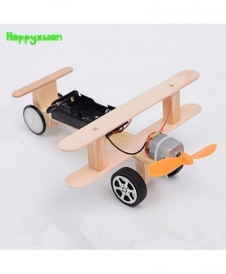 Happyxuan DIY Wind Power Glide Plane Model Kit Wood Kids Physical Science Experiments Toy Set