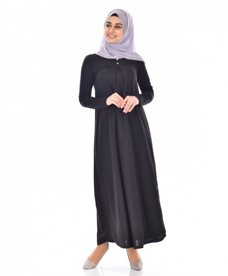 True Black Slim Fit Button Style Ladies Abaya FLK-379