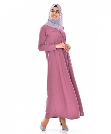 D Fuschia Slim Fit Button Style Ladies Abaya FLK-377