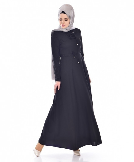 Black Slim Fit Laces Style Ladies Abaya FLK-385