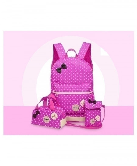 LADSOUL Pink Dotted Korean Cute Printing Backpack