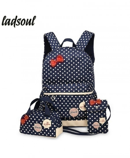LADSOUL Navy Dotted Korean Cute Printing Backpack