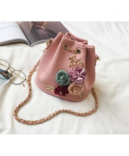 LADSOUL Pink Designer Chain Ladies Clutches Flower Handbag