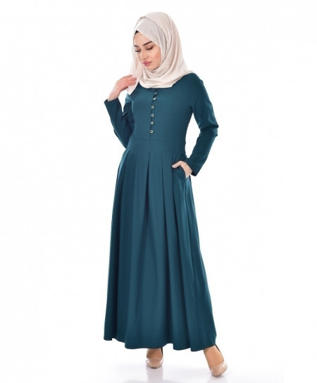 Teal Green Slim Fit Pocket Style Ladies Abaya FLK-388